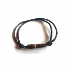 Bracelet: Black thick cord with sliding knots and bone brown bead