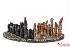 Chess small beige-black, round