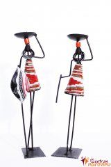 Candlestick African pair red and white