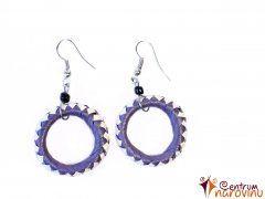 Earrings beige purple