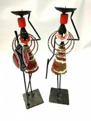 Candlestick African couple gold-white-red