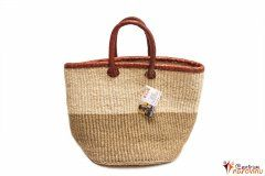 Handbag big natural colors, red leather hem