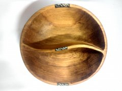 Medium partitioned wooden bowl