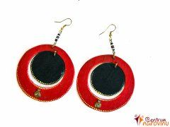 Wooden earrings with red-black beads