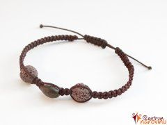 Bracelet: Brown nylon cord + brown lava stones + seeds