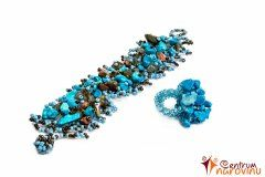 Beaded bracelet and ring with stones – turquoise