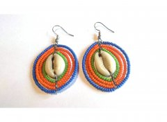 Blue-orange-green earrings with shell