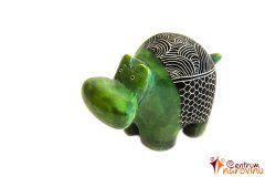 Hippo statuette green (stripe)