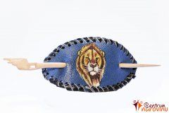 Hair clip dark blue with a picture of a lion
