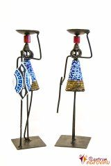 Candlestick African couple blue-golden couple with red beads