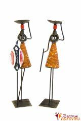Candlestick African couple orange