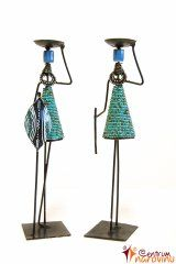 Candlestick African couple turquoise with blue beads