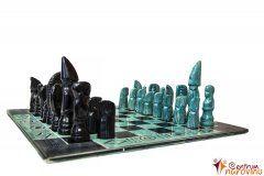 Chess big turquoise-black